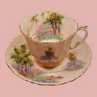 Vintage Aynsley Bone China Blush Pink Bluebell Time Woodland Scene Teacup and Saucer