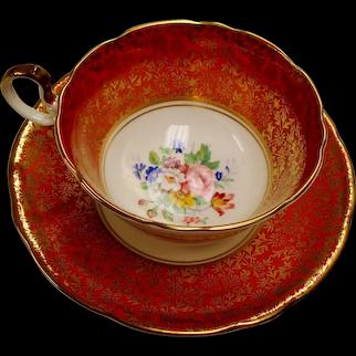 Vintage Aynsley Pumpkin Color Floral Bone China Teacup