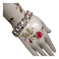 Vintage B. David Emerald Cut & Baguette Rhinestone Bracelet