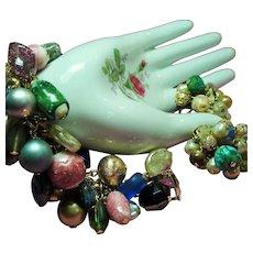 Vintage Baubles Bangles Beads Charm Bracelet Earrings Demi Parure - Red Tag Sale Item