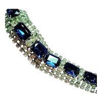 Vintage Large Sapphire Blue Rectangular Glass Rhinestone Wide Bracelet