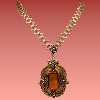 Vintage Faceted Citrine Colored Glass Floral Pendant Book Chain Necklace