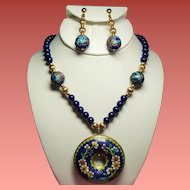 Vintage Cobalt Blue Glass Bead Long Necklace Cloisonne Donut Pendant Long Drop Earrings Set