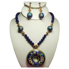 Vintage Cobalt Blue Glass Bead Long Necklace Cloisonne Donut Pendant Long Drop Earrings Set