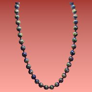 Vintage Blue Floral Cloisonne Bead Matinee Length Necklace