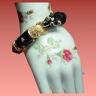 Vintage Black Enamel Panther Rhinestone Hinged Bangle Bracelet