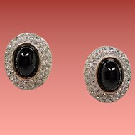 Vintage Designer Black Glass Cabochon Pave Rhinestone Earrings