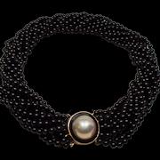 Vintage Black Onyx Bead Torsade Necklace Huge Mabe Pearl 14K Clasp
