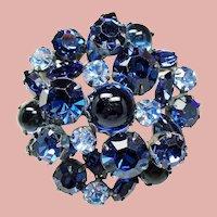 Vintage Midnight Blue Rhinestone Cabochon Dimensional Brooch