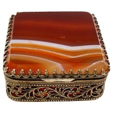 Antique Victorian Banded Agate Petite Ormolu Trinket Pill Box