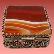 Antique Victorian Banded Agate Petite Ormolu Trinket Pill Box