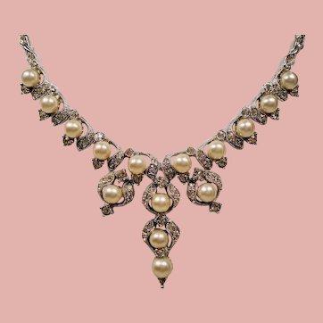 Vintage Bogoff Faux Pearl and Rhinestone Drop Necklace