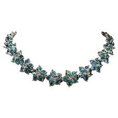 Vintage Bogoff Aqua Rhinestone Flower Choker Necklace