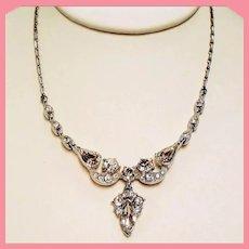 Vintage Bogoff Colorless Navette Rhinestone Drop Necklace