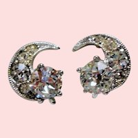 Vintage Bogoff Colorless Rhinestone Crescent Petite Earrings