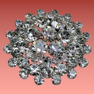 Vintage Large Round Tiered Brilliant Rhinestone Brooch