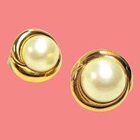 Vintage Ciner Large Simulated Mabe Pearl Earrings