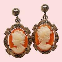 Vintage Cameo Marcasite Silver Drop Earrings