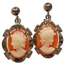 Vintage Cameo Marcasite Silver Drop Earrings