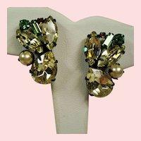 Vintage Unsigned Alice Caviness Jonquil Pear Shaped Rhinestone Black Japanned Earrings
