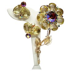 Vintage Huge Faceted Canary Yellow Pear Open Back Stone Flower Brooch Earrings Set