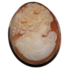 Antique Carved Female Portrait 14K Cameo Brooch Pendant