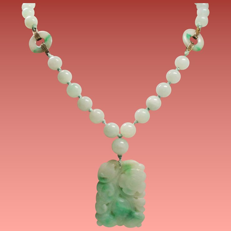 Vintage art deco chinese export carved jade pendant long bead vintage art deco chinese export carved jade pendant long bead necklace aloadofball