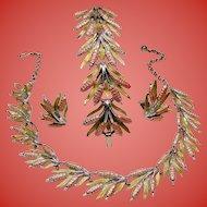 Vintage Cattails Necklace Bracelet Earrings Parure