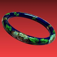 Vintage Cobalt Blue Floral Cloisonne Hinged Bangle Bracelet