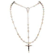 Vintage Chapel Aurora Borealis Crystal Bead Sterling Crucifix Madonna Rosary
