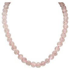 Vintage Chinese Carved Mellon Ribbed Rose Quartz Bead Princess Length Necklace