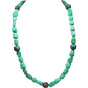 Vintage Chinese Knuckle Bone Shape Turquoise & Cloisonne Bead Sterling Necklace