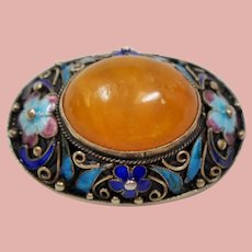 Vintage Chinese Export Amber Enamel Gilt Silver Brooch
