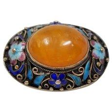 Vintage Chinese Export Amber Enamel Gilt Silver Brooch