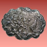 Vintage Chinese Export Silver Bird Garden Scalloped Brooch