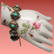 Vintage Chinese Export Turquoise Gilt Silver Bracelet
