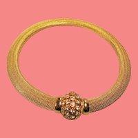Vintage Christian Dior Rhinestone Mesh Choker Collar Necklace