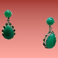 Vintage Chrysoprase Tear Drop Sterling Screw Back Earrings