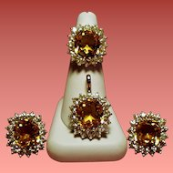 Vintage Ciner Faux Citrine Rhinestone Cocktail Ring Pendant Earrings Parure