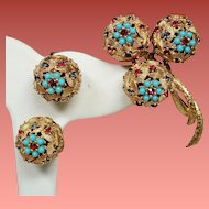 Vintage Ciner Faux Gemstone Encrusted Orbs Brooch Earrings Demi Parure