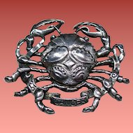 Vintage Cini Sterling Cancer the Crab Brooch