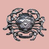 Vintage Cini Sterling Crab Brooch
