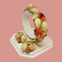 Vintage Faceted Citrine Glass and Lucite Pebble Clamper Bracelet & Earrings Demi Parure
