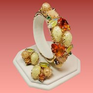 Vintage Faceted Citrine Glass and Lucite Pebble Clamper Bracelet & Earrings Demi Parure
