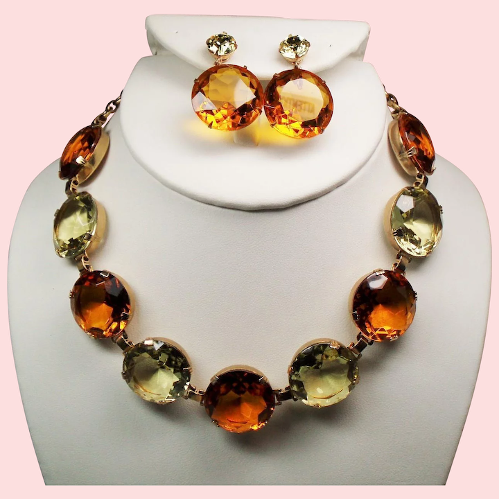 Citrine Green Rhinstone Victorian Style Chain Necklace and Earring Set