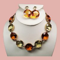 Vintage Faceted Citrine & Lemon Glass Open Back Stone Necklace Drop Earrings Set