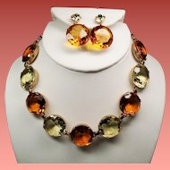 Vintage Faceted Citrine & Lemon Glass Open Back Stone Necklace Drop Earrings Set