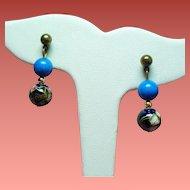 Vintage Cloisonne Bead Drop Pierced Earrings