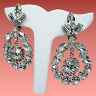 Vintage Stunning Colorless Navette Rhinestone Large Drop Hoop Earrings