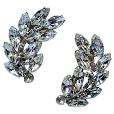 Vintage Colorless Navette Rhinestone Climber Earrings